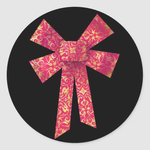 Ribbon Bow Round Stickers