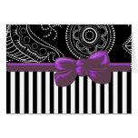 Ribbon, Bow, Stripes, Paisley - White Black Greeting Card