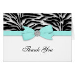 Ribbon Bow Teal Blue Zebra Thank You Cards