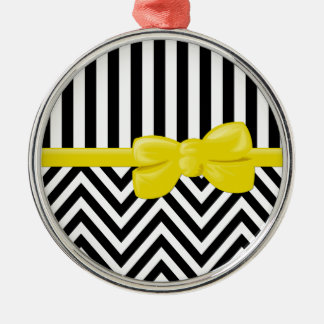 Ribbon, Bow, Zigzag, Stripes - Black White Yellow Metal Ornament