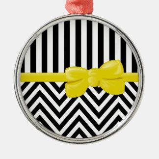 Ribbon, Bow, Zigzag, Stripes - Black White Yellow Metal Ornament