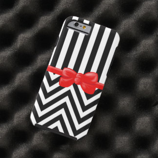 Ribbon, Bow, Zigzag, Stripes - White Black Red Tough iPhone 6 Case