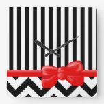 Ribbon, Bow, Zigzag, Stripes - White Black Red Square Wall Clocks