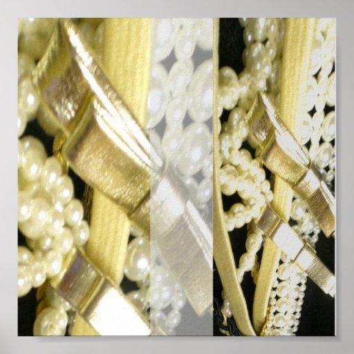 Ribbon, bows and pearls poster