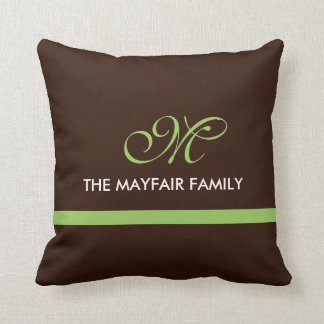 Ribbon Brown Lime Green Family Monogram Design Throw Pillow