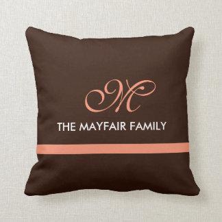 Ribbon Brown Pink Family Monogram Design Throw Pillows