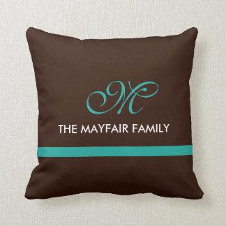 Ribbon Brown Teal Family Monogram Design Throw Pillow