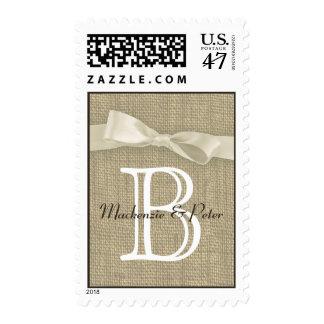 Ribbon Burlap Monogram Love Postage