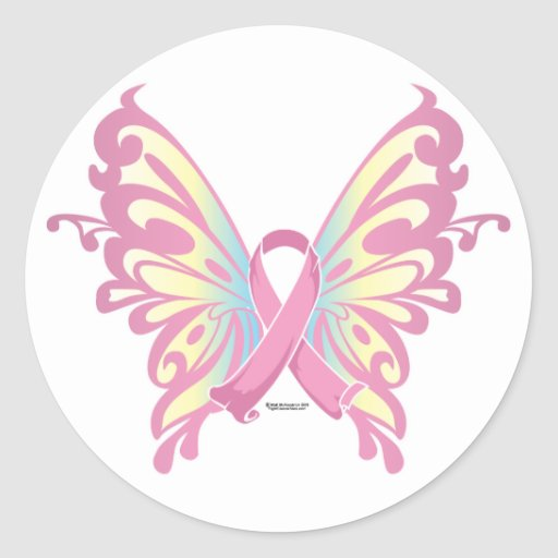 Ribbon Butterfly Classic Round Sticker