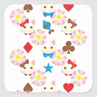 Ribbon cat and bow knot cat Ribbon and bow tie ca Stickers