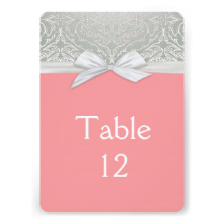 Ribbon Coral/Silver Lace Damask Table card