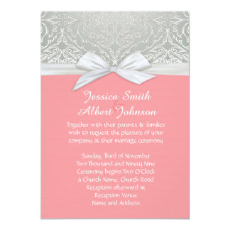 Ribbon Coral/Silver Lace Damask Wedding Invite