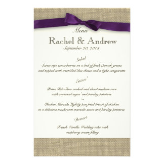 Ribbon Country Purple Menu Stationery Paper