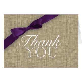 Ribbon Country Purple Thank You Card