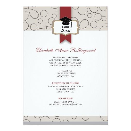 Ribbon Crest Pattern Graduation: Warm Gray Card