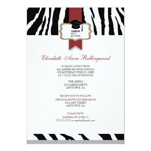 Ribbon Crest Zebra Pattern Graduation 5x7 Paper Invitation Card