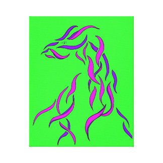Ribbon Cricket Dragon Abstract Style Art Neon Lime Canvas Print