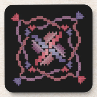 Ribbon Cross Stitch Quilt Square Coasters