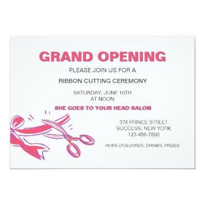 Charming Red Ribbon Cutting Grand Opening Invitation | Zazzle.com