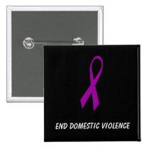 Ribbon, End Domestic Violence Pinback Button