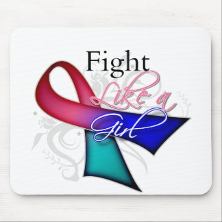 Ribbon - Fight Like a Girl - Thyroid Cancer Mouse Pad