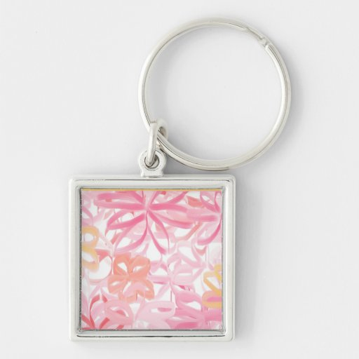 """""""RIBBON FLOWERS"""" Silver-Colored SQUARE KEYCHAIN"""