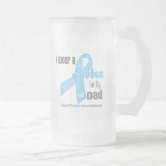 Ribbon For My Dad - Prostate Cancer 16 Oz Frosted Glass Beer Mug