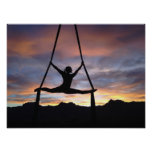 Ribbon Gymnast Silhouette Poster