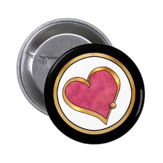 Ribbon Heart-16 Plain Ruby Red Button