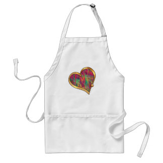 Ribbon Heart-19 Red & Green Splashes Adult Apron
