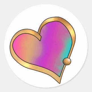 Ribbon Heart-20 Tropical Rainbow Classic Round Sticker