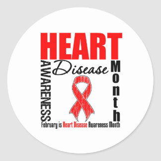 Ribbon - Heart Disease Awareness Month Classic Round Sticker