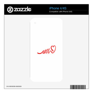 Ribbon Heart Skins For The iPhone 4S