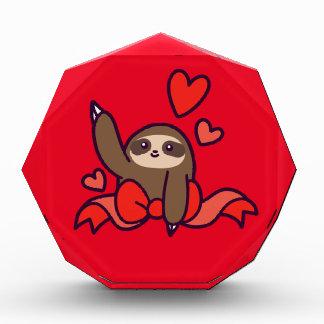 Ribbon Heart Sloth Acrylic Award
