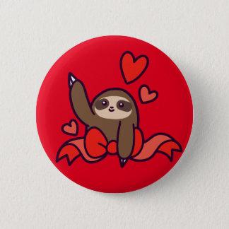 Ribbon Heart Sloth Button
