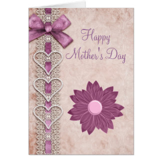 Ribbon, Lace, Hearts & Flower Lilac Mother's Day Card