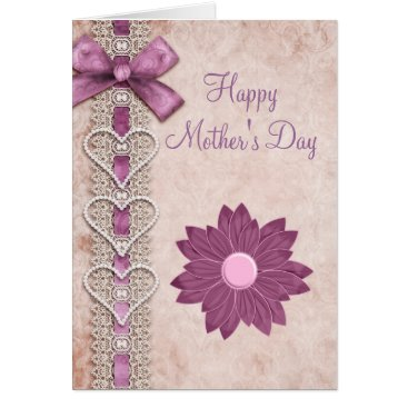 Valentines Themed Ribbon, Lace, Hearts & Flower Lilac Mother's Day Card