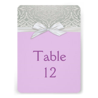 Ribbon Lavender/Silver Lace Damask Table card