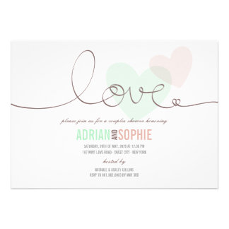 Ribbon Love Sweet Hearts Couples Shower Party Invitations