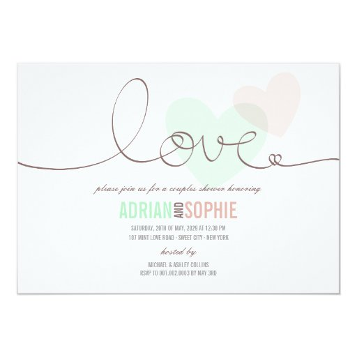 Ribbon Love Sweet Hearts Couples Shower Party 5x7 Paper Invitation Card