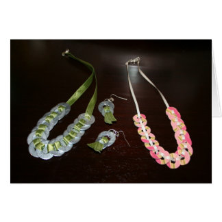 Ribbon Necklaces and Earrings and Stripe Necklace Greeting Card