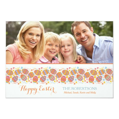 Ribbon of Easter Eggs Photo Card