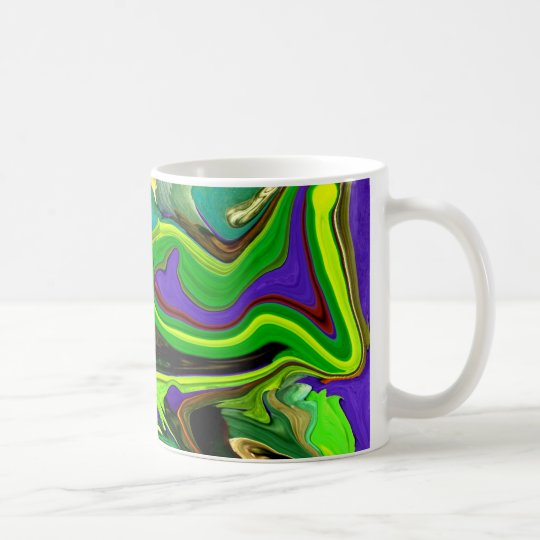Ribbon of green & blue abstract art  mug
