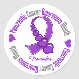 Ribbon of Hearts - Pancreatic  Cancer Awareness Classic Round Sticker