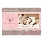 "Ribbon pink baby birth announcement 5"" x 7"" invitation card"