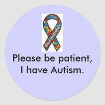 ribbon, Please be patient, I have Autism. sticker