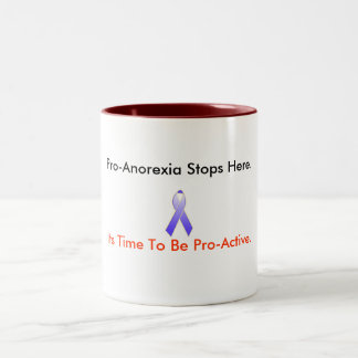 ribbon, Pro-Anorexia Stops Here., Its Time To B... Two-Tone Coffee Mug