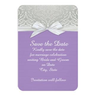 Ribbon Purple/Silver Lace Damask Save the date Card