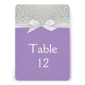 Ribbon Purple/Silver Lace Damask Table card