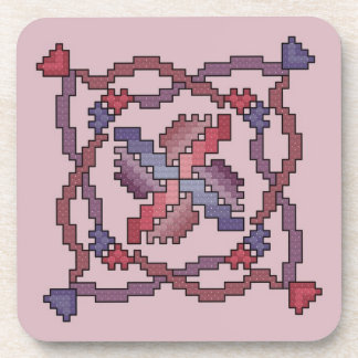 Ribbon Quilt Square Cross Stitch Coasters